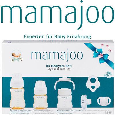 mamajoo Geschenkset Muttermilch Babyflasche Schnuller Beißring Trinkflasche Baby