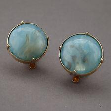 VINTAGE CINER ART GLASS LIGHT BLUE GOLD AVENTURINE DOME BUTTON CLIP EARRINGS