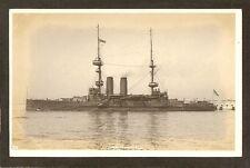 REAL-PHOTO POSTCARD.:  H.M.S. ALBEMARLE - BRITISH NAVY Pre-WW-1 BATTLESHIP