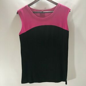 Vince-Camuto-Blouse-Cami-Sleeveless-Top-Pink-Black-Stretch-Size-L-Large