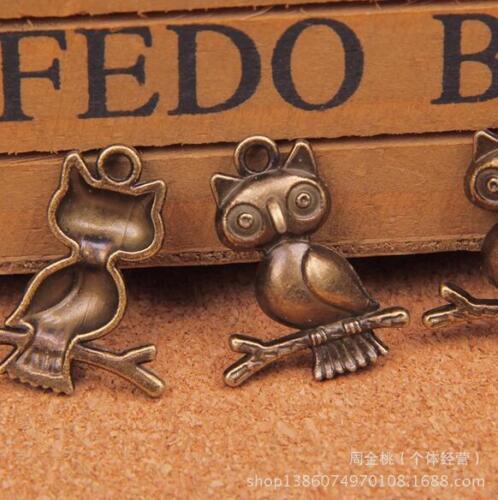 40pcs bronze owl pendants Retro Alloy Jewelry accessories 24X18mm