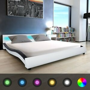 led polsterbett doppelbett bettgestell kunstleder wei schwarz 140 180x200 cm ebay. Black Bedroom Furniture Sets. Home Design Ideas