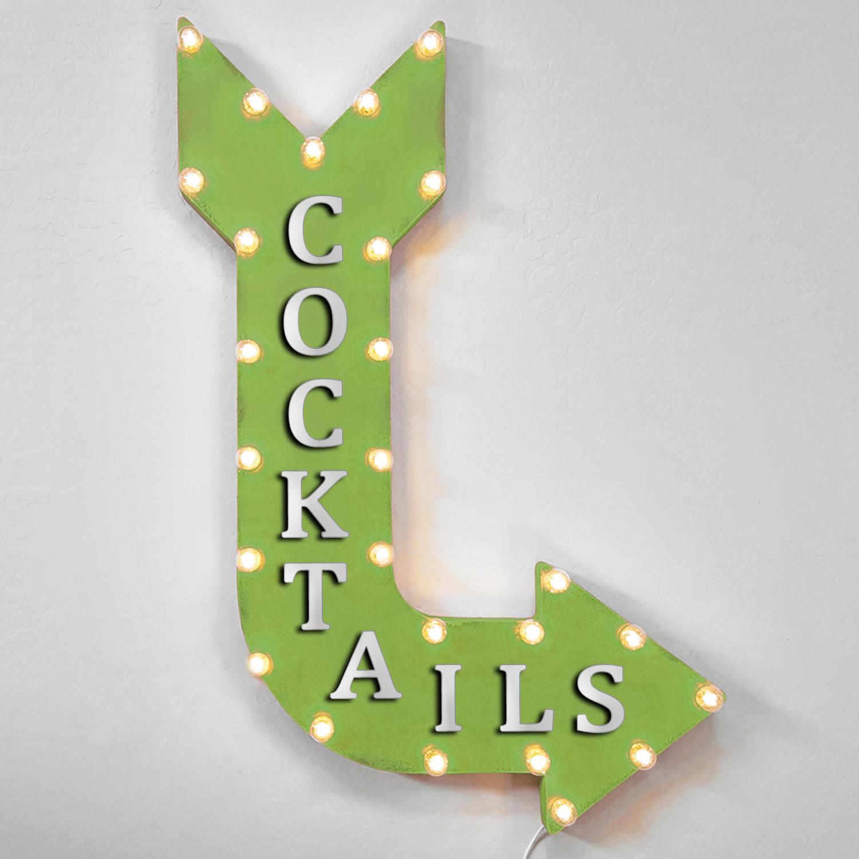 36  COCKTAILS Curved Arrow Sign Light Up Metal Marquee Vintage Drinks Bar Pub