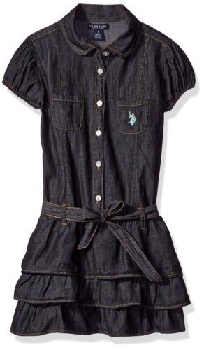 Polo Assn Girls/' Tiered Ruffle Black Denim Dress MSRP $26.00 U.S