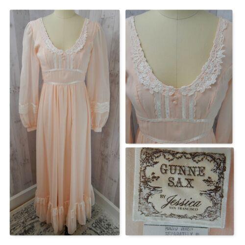 1970s True Vintage GUNNE SAX DRESS~Peach/Pink Prai