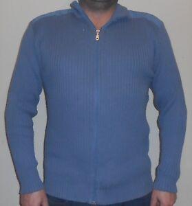 HERREN-PULLOVER-blau-Schoen-Gr-L-EXPLORER-SWEATSHIRT-Reissverschluss-Top-Zustand