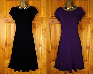 NEW-WALLIS-BLACK-PURPLE-JERSEY-TEA-PARTY-DRESS-VINTAGE-40s-50s-STYLE-UK-8-10