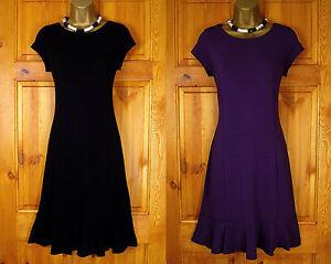 NEW-WALLIS-BLACK-PURPLE-JERSEY-TEA-PARTY-DRESS-VINTAGE-40s-50s-STYLE-UK-8-10