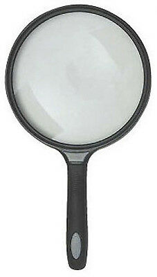 "Large 5 1/2"" Diameter Magnifer Rubber Handheld Magnifying Glass 5X Lens"