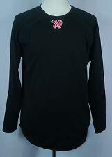 Men's Black Majestic Baseball Therma-Base Pullover Fleece Shirt with W Logo Sz M