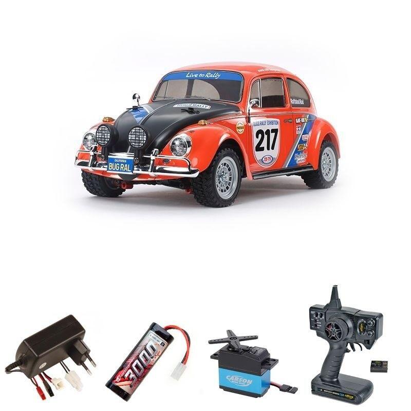 TAMIYA VW BEETLE RALLY mf-01x 4wd 1:10 Rally Car 2,4ghz SET COMPLETO - 58650set
