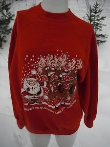 Details about Vintage There's No Business like Snow Business Ugly Christmas sweater Size L