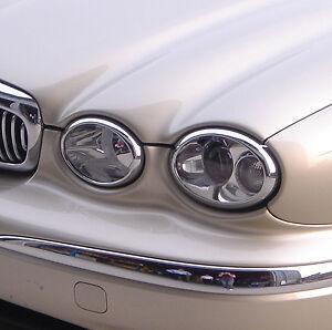 Jaguar X Type Chrome Headlight Rings Rims Surround Trim Set Of 4 With 3m Tape Ebay