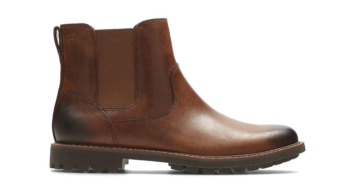 Clarks Para Hombre Montacute Top oscuro cuero tostado (marrón) botas Talla 9 G