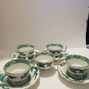 Booths-Dragon-5-Demitasse-Cups-amp-4-Saucers-1pt-Handle-Green-Vintage-Rare-England