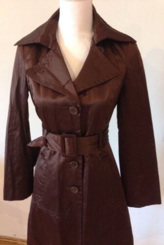Satin Brun Coat Jacket Kvinders Størrelse Bebe Små r n0xZZSw