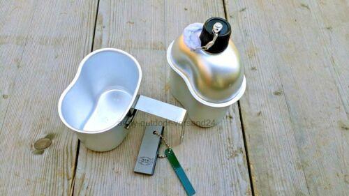 Magnesium Feuerstarter Camping US Alu Feldflasche mit Trinkbecher Langergriff