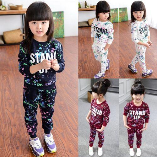 2Pcs Kids Baby Girls Sweatshirt T-shirt Tops Pants Tracksuit Outfits Set Winter
