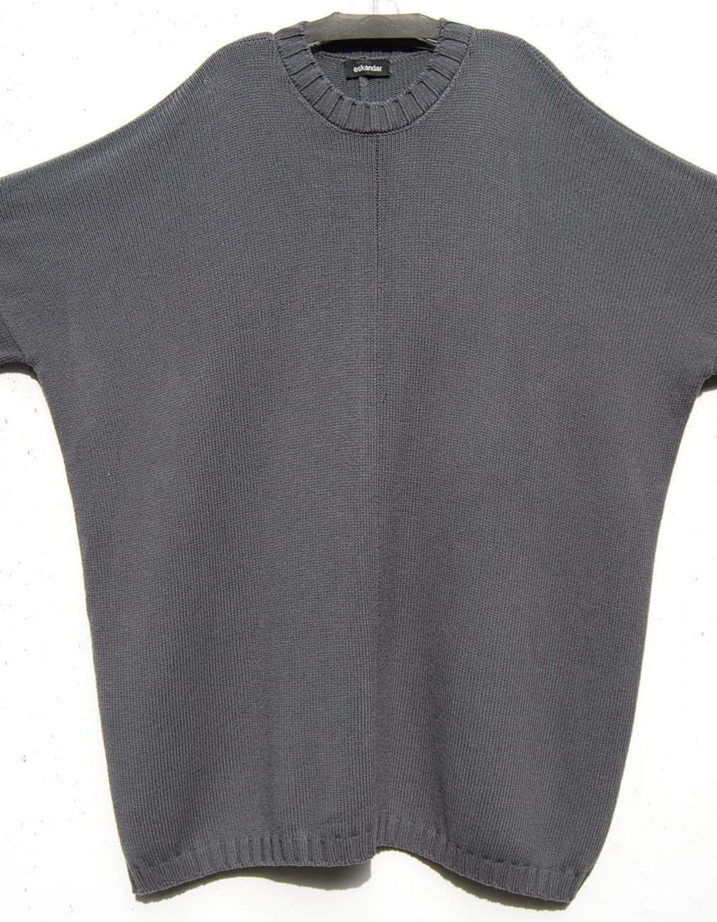 NEW Eskandar CHARCOAL Handloomed Handloomed Handloomed 52% Merino 48% Cotton 34  Long Sweater  1490 bd0298