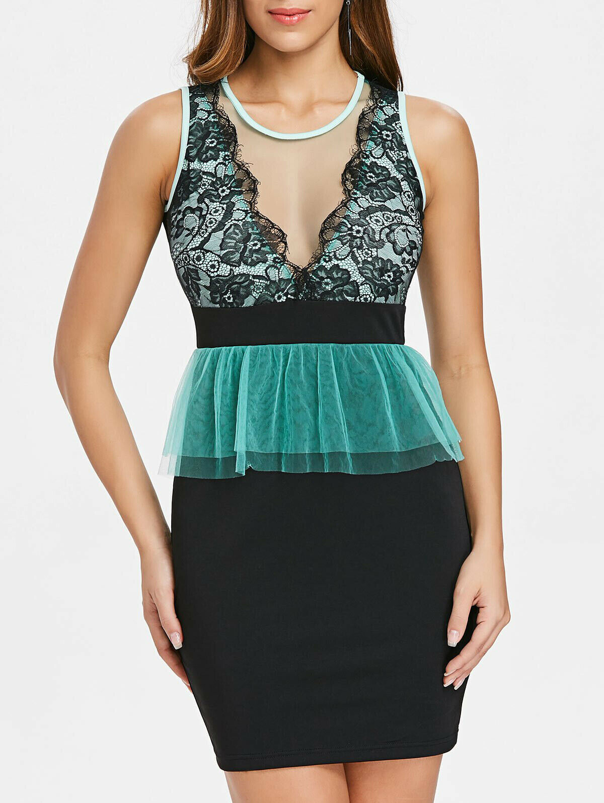 Black and Aqua Peplum Bodycon Dress size S, L and XL