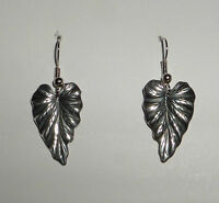 LOVELY QUALITY ANTIQUED SILVER PLATED LEAF DROP EARRINGS