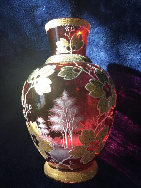 Moser Bohemium Cranberry Glass Vase, Antique