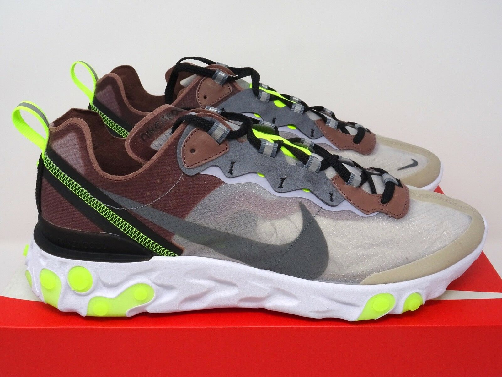 Nike React Element 87 Desert Sand Cool Grey Green UK 5 6 7 8 9 10 11 12 US