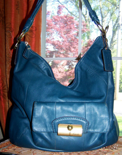 distressed Coach 14769 Teal Blue Kristin leather HoBo Slouchy bag HandBag $395