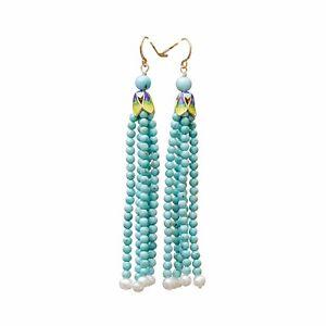 Natural Turquoise white Freshwater pearl Vintage Cloisonne Enamel Earring Dangle
