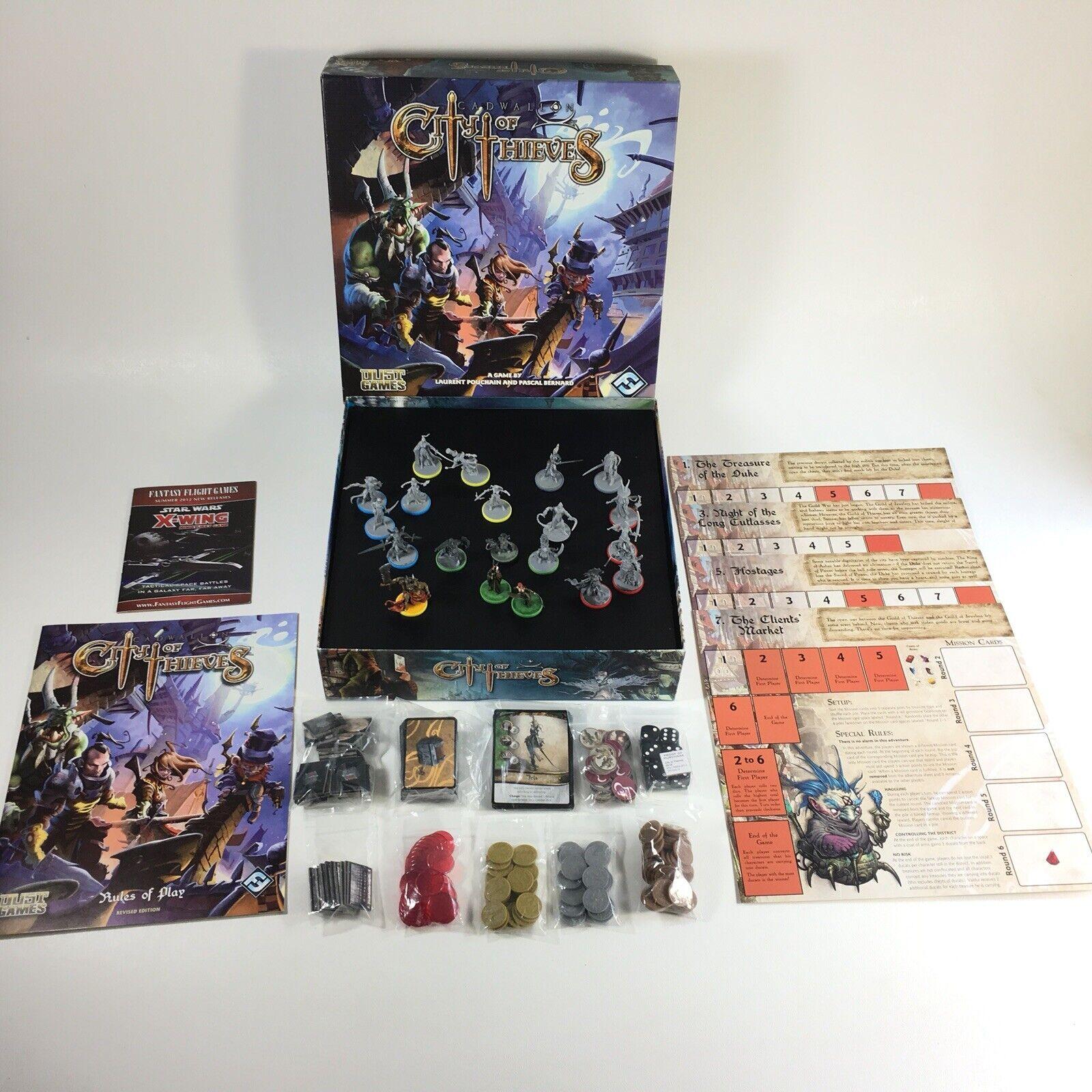 Cadwallon stad Of Thieves Fantasy Flight Board spel 3 Målade figurer kompletta