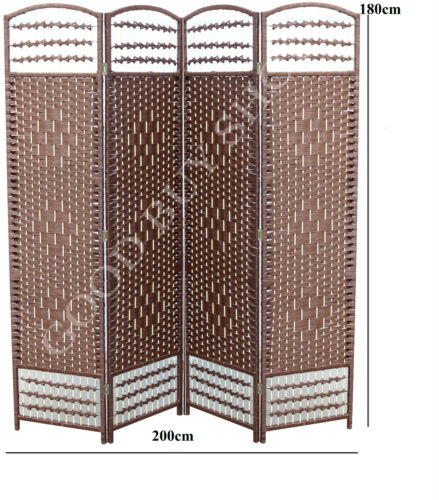 1 of 1 - XL 200cm Folding Rattan Bedroom Change Fitting Room Privacy Screen Room Divider