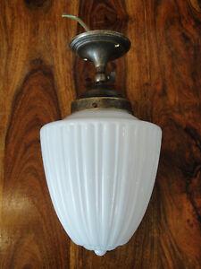 Deckenlampe-Jugendstil-Wandlampe-Messing-Antik-Lampe-Leuchte-Opal-Glas-Edel-Art