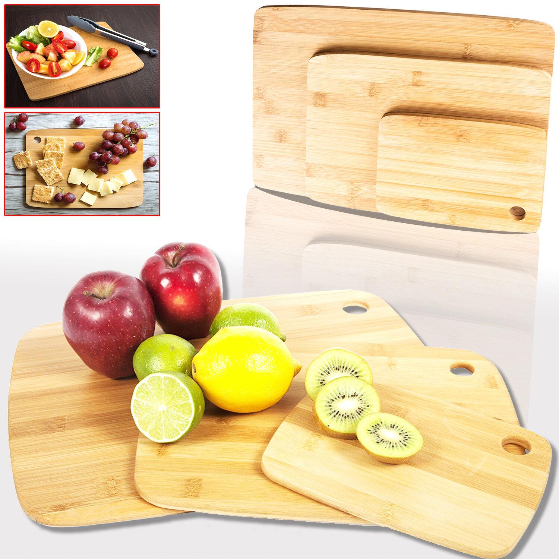 3 piezas de bambú Tabla de Cortar Cocina Picar Cocina Cortar de madera Rebanar Dicing Bandeja De Servir 66e7a2