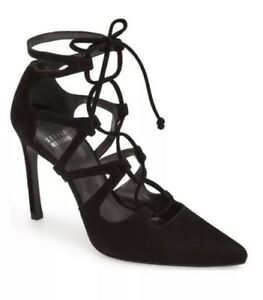 cd3ee6abad Image is loading Stuart-Weitzman-Black-Suede-Leather-Excite-Lace-Up-