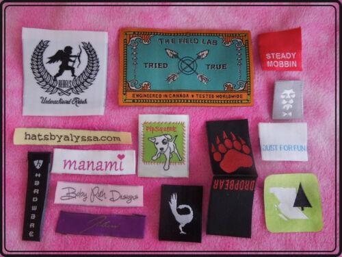 2000 Custom woven labels hi density damask weave satin printed clothing tags