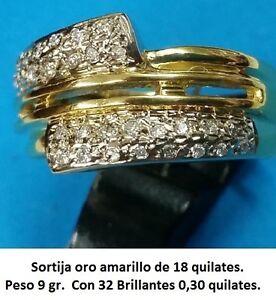 Sortija-Oro-Amarillo-de-18-quilates-y-32-Brillantes-Peso-9-00-gr-GRAN-PRECIO