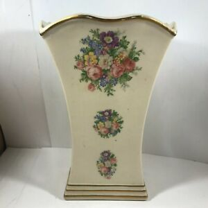 """Vintage Ceramic Floral Rose Off White Gold Trim 10"""" Planter"""