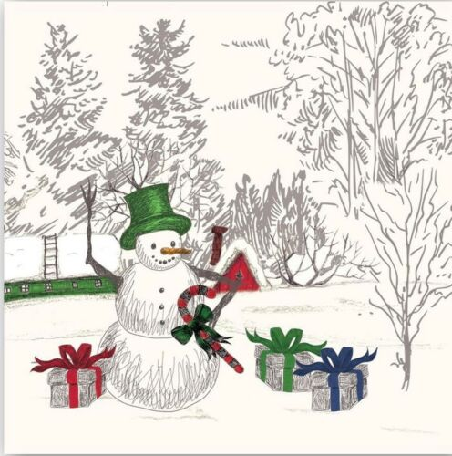 Christmas Two Snowman 2 Paper Cocktail Napkins for Paper Crafts Holiday