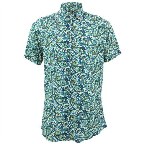 Camicia da uomo forte Originals Tailored Fit Paisley Blu Retro Psichedelico Costume