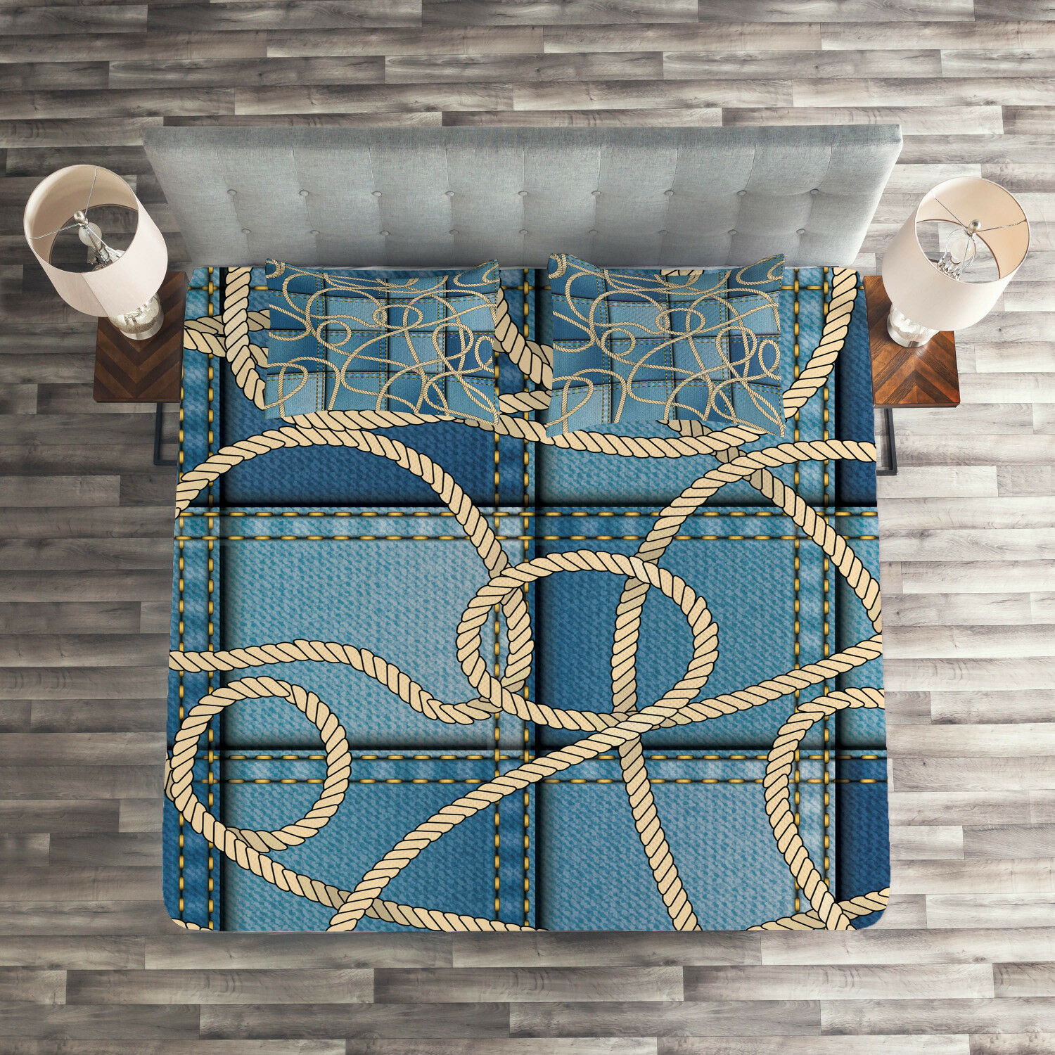 blueeeeee Quilted Coverlet & Pillow Shams Set, Denim Patchwork Rope Print