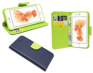 Book-Style-Handy-Huelle-Tasche-Zubehoer-in-Blau-Gruen-2-Farbig-fuer-iPhone-8-Plus