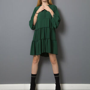 Vestito abito donna corto mini balze volant manica 3/4 ampio impero dress 10758