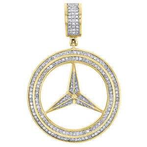 Mens 10k yellow gold mercedes medallion real diamond pendant pave image is loading men 039 s 10k yellow gold mercedes medallion mozeypictures