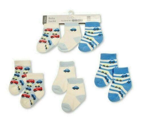 Nursery Time Baby Boys 3 Pack Car Transport Socks Age 0//3 /& 3//6 Months NEW