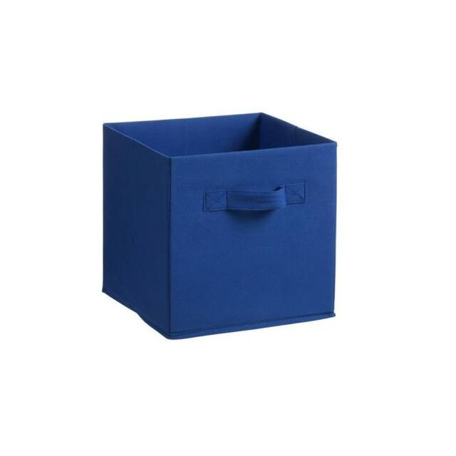 3x Collapsible Storage Cube Toy Box Bin Organisers For Kids Bookshelf - Blue