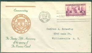 US -FDC-856 CANAL ZONE 25th ANNIV.USS CHARSTON AUG-15-1939 ADDR.