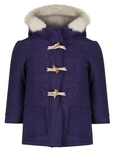 EX-M-amp-S-GIRLS-DUFFEL-COAT-WOOL-MIX-TOGGLES-HOODED-JACKET-CREAM-FUR-AGE-1-7-YEARS