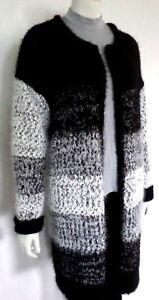heißer Verkauf online erstklassige Qualität heißer verkauf rabatt Details zu Kuschelige Damen-Jacke Strickjacke Strickmantel Cardigan  Schwarz/Weiß Gr.42 NEU