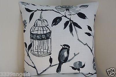 """16"""" NEW CUSHION COVER SHABBY BIRD CAGE FLOWER FRENCH CHIC BLACK WHITE CREAM"""