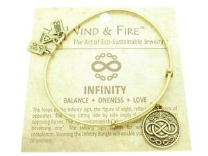 Wind and Fire RN Caduceus Charm Wire Bangle Stackable Bracelet Made USA Gift